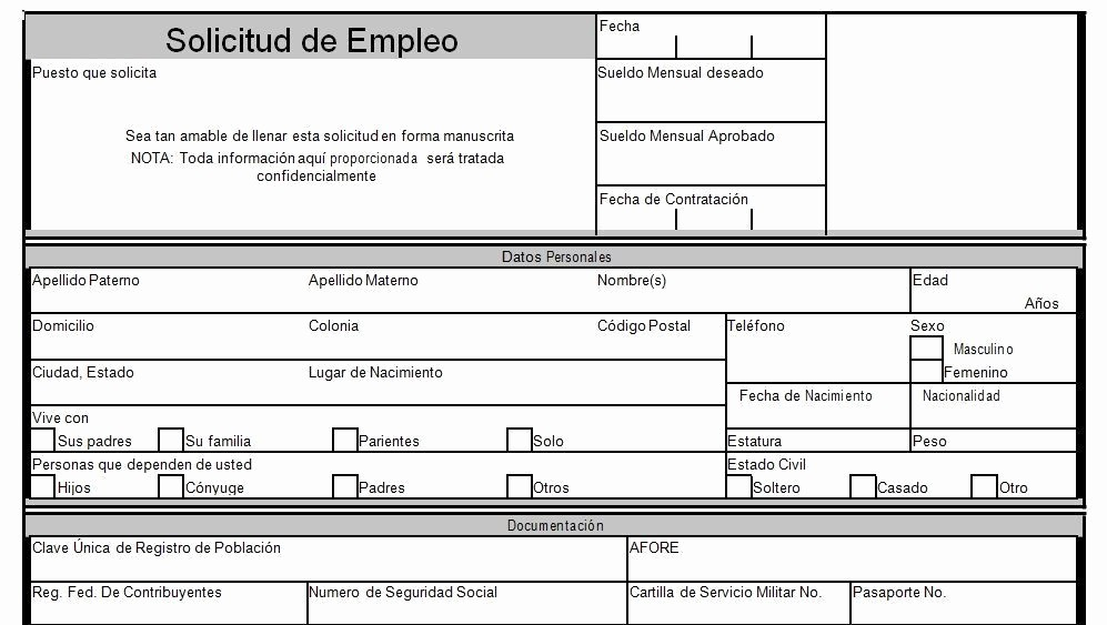 Solicitud De Empleo En Blanco Best Of formato solicitud De Empleo