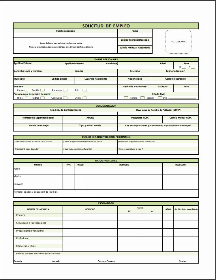 Solicitud De Empleo En Blanco Inspirational formato Y Ejemplo De solicitud De Empleo Pdf