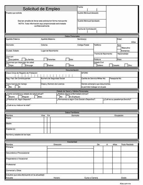 Solicitud De Empleo En Blanco Unique solicitud De Empleo