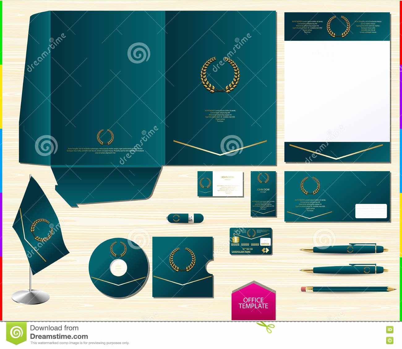 Souvenir Booklet Template Microsoft Word Awesome Vector Royal Turquoise Corporate Id Brand Book Template
