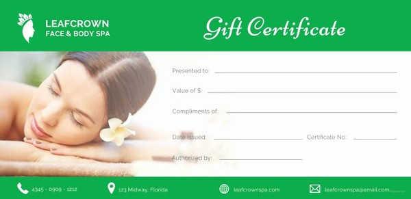 Spa Gift Certificate Template Free Awesome 155 Gift Certificate Templates – Free Sample Example