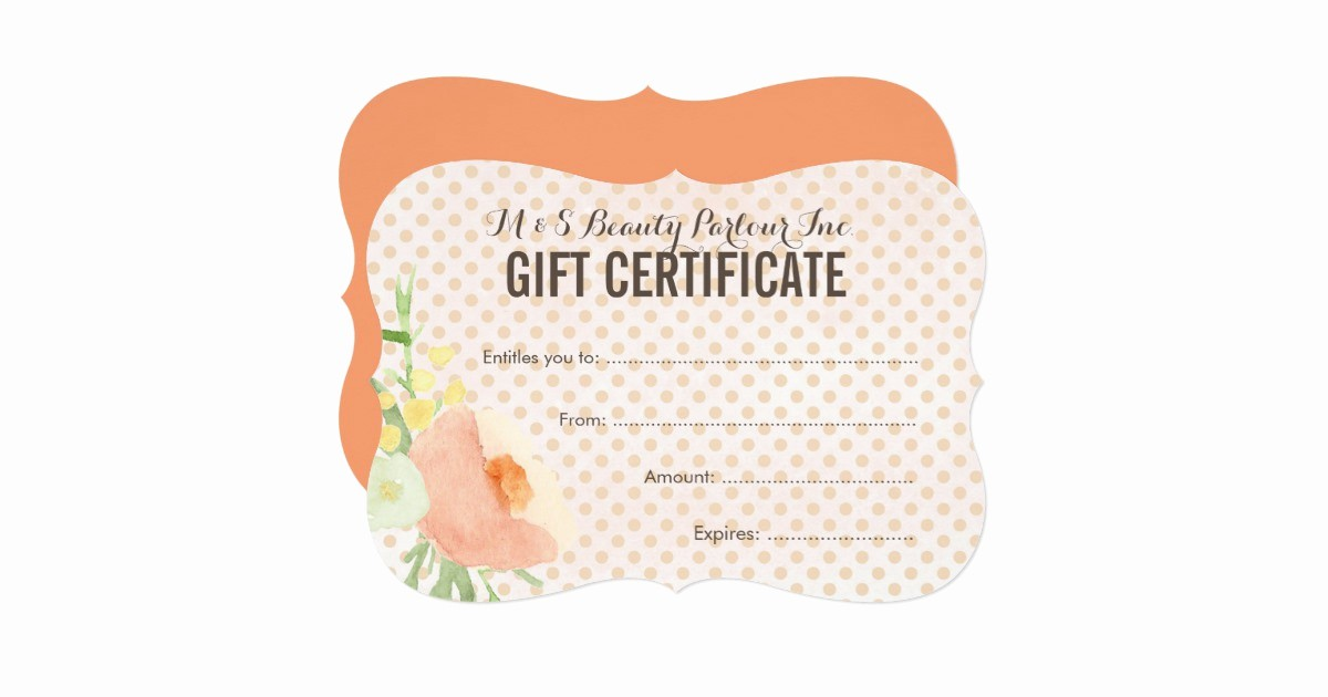 floral spa beautician t certificate template card