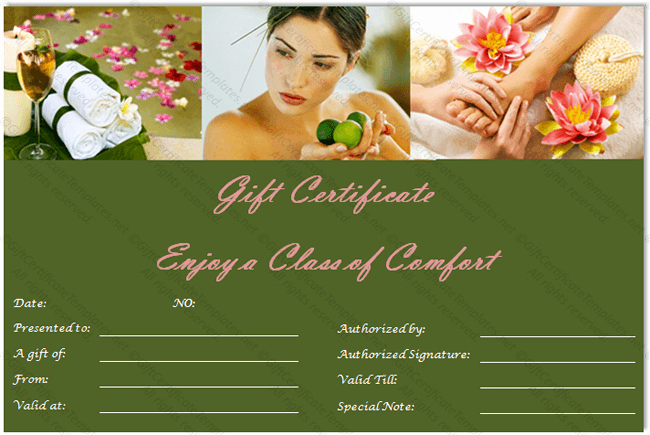 Spa Gift Certificate Template Free Awesome Gift Certificate Templates