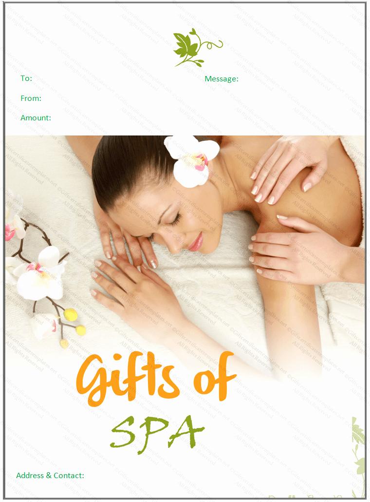 Spa Gift Certificate Template Free Beautiful Beautiful Spa T Certificate Template