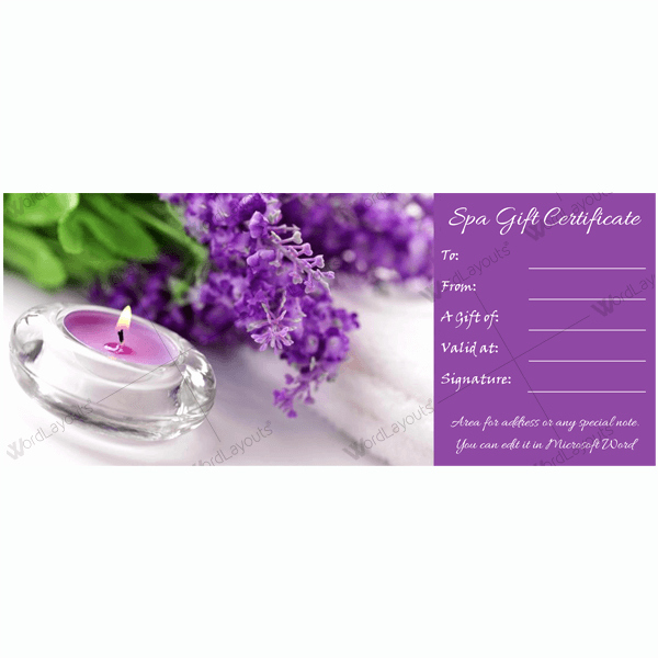 Spa Gift Certificate Template Free Beautiful Gift Certificate 20 Word Layouts