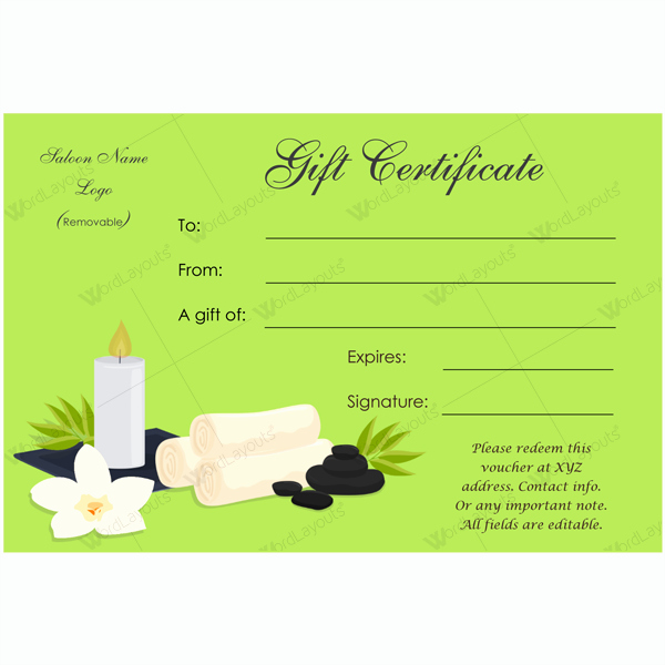 Spa Gift Certificate Template Free Elegant Gift Certificate 24 Word Layouts