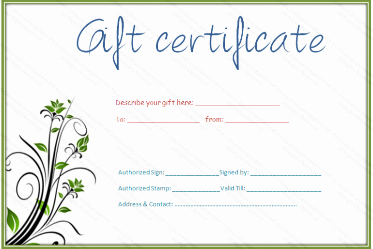 Spa Gift Certificate Template Free Elegant Gift Certificate Template