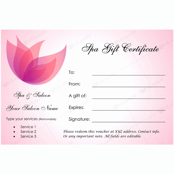 Spa Gift Certificate Template Free Lovely 50 Spa Gift Certificate Designs to Try This Season