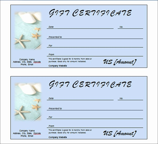 Spa Gift Certificate Template Free Luxury Printable Gift Certificate Templates