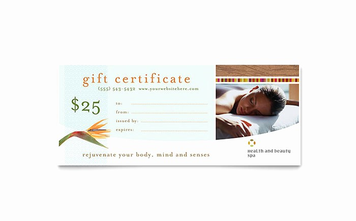 Spa Gift Certificate Template Free Unique Health & Beauty Spa Gift Certificate Template Word