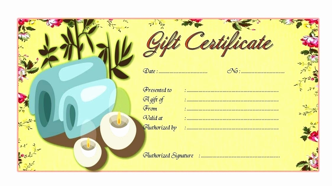 Spa Gift Certificate Template Free Unique Massage Gift Certificate Template Spa Day Voucher