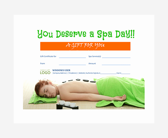 Spa Gift Certificates Templates Free Awesome 44 Free Printable Gift Certificate Templates for Word & Pdf