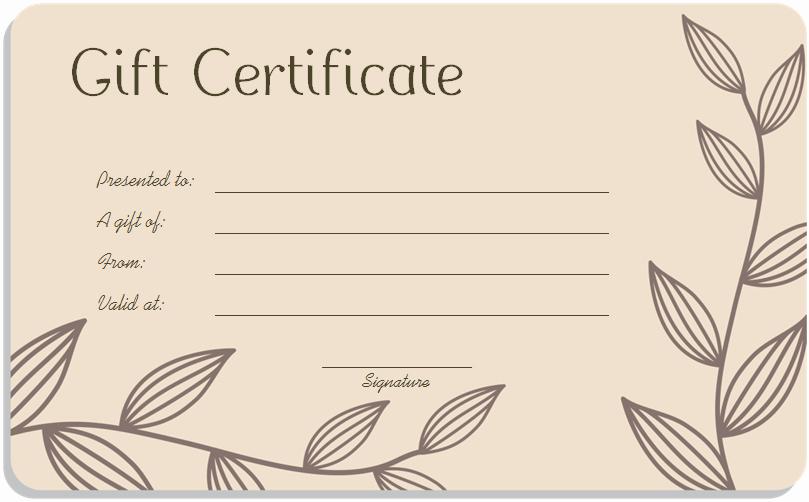 Spa Gift Certificates Templates Free Elegant Leaf Branches Art Gift Certificate Template
