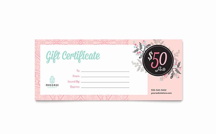 Spa Gift Certificates Templates Free Fresh Massage Gift Certificate Template Design