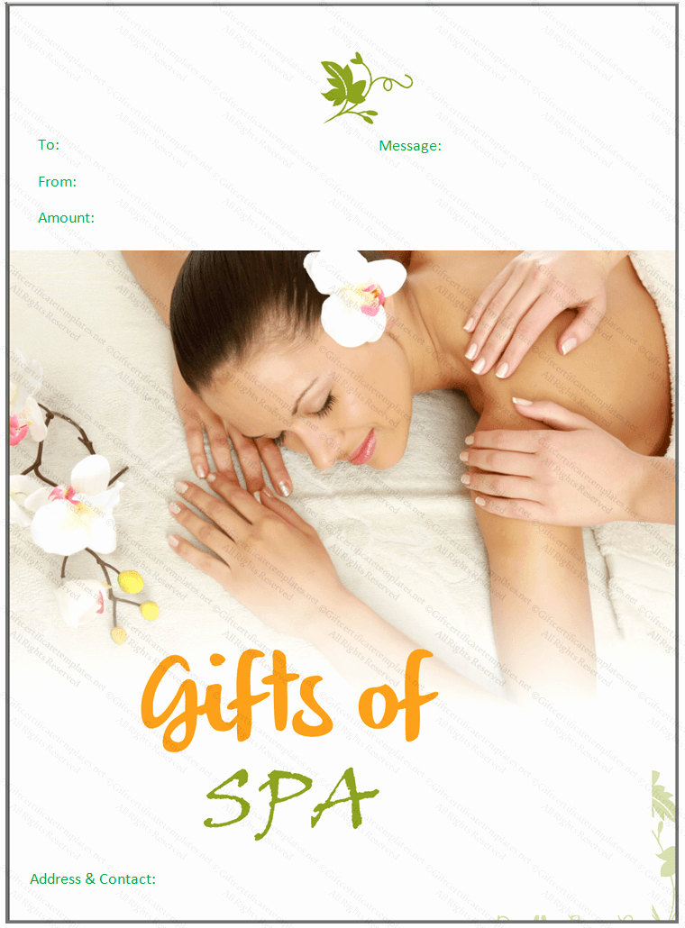 Spa Gift Certificates Templates Free Inspirational Beautiful Spa T Certificate Template