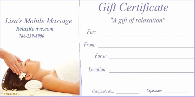 Spa Gift Certificates Templates Free Inspirational Massage T Certificate Template