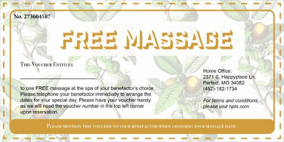 Spa Gift Certificates Templates Free Lovely 19 Massage Voucher Templates Psd Ai Word
