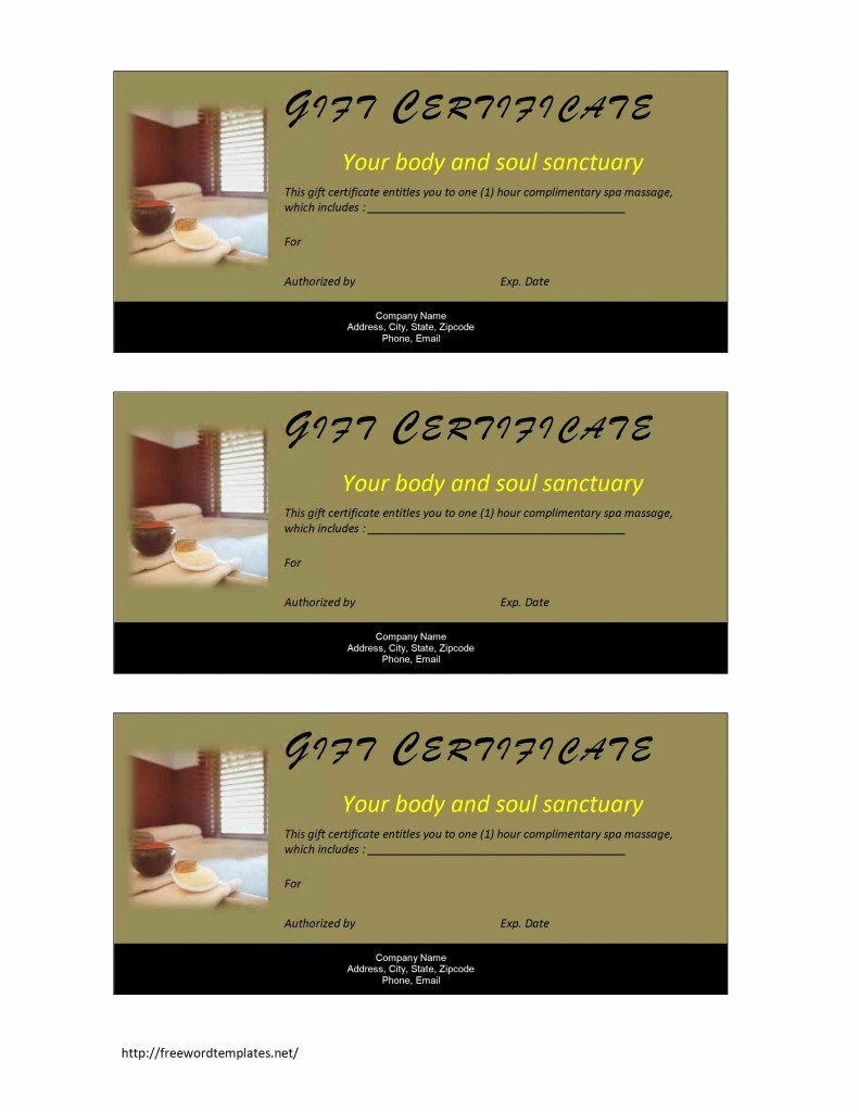 Spa Gift Certificates Templates Free Luxury Spa Gift Certificate Template