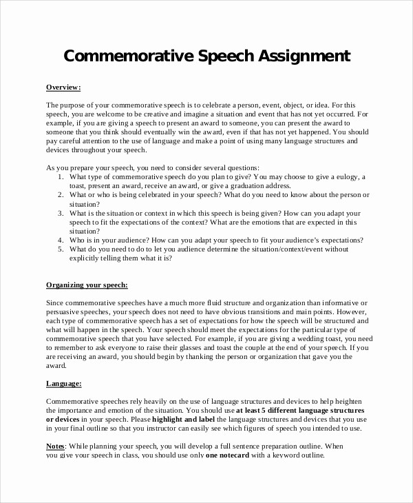 Special Occasion Speech Outline Template Awesome 7 Memorative Speech Samples