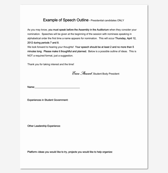 Special Occasion Speech Outline Template Awesome Speech Outline Template 38 Samples Examples and formats