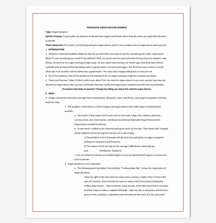 Special Occasion Speech Outline Template Elegant Speech Outline Template 38 Samples Examples and formats