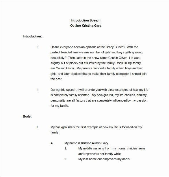 Special Occasion Speech Outline Template Luxury 10 Speech Outline Templates