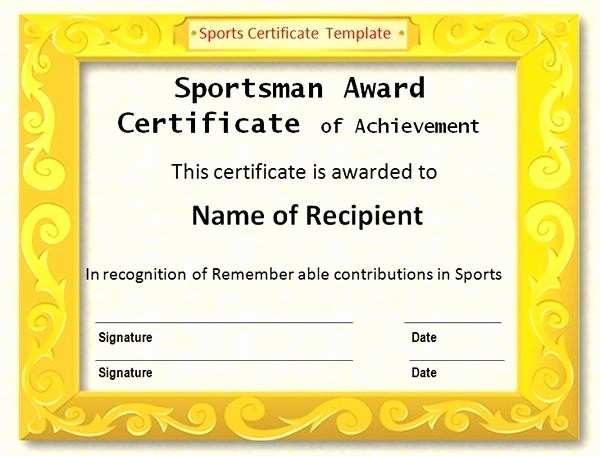 Sports Certificate Templates for Word Awesome Sports Certificate Design Vector Certificates Template for