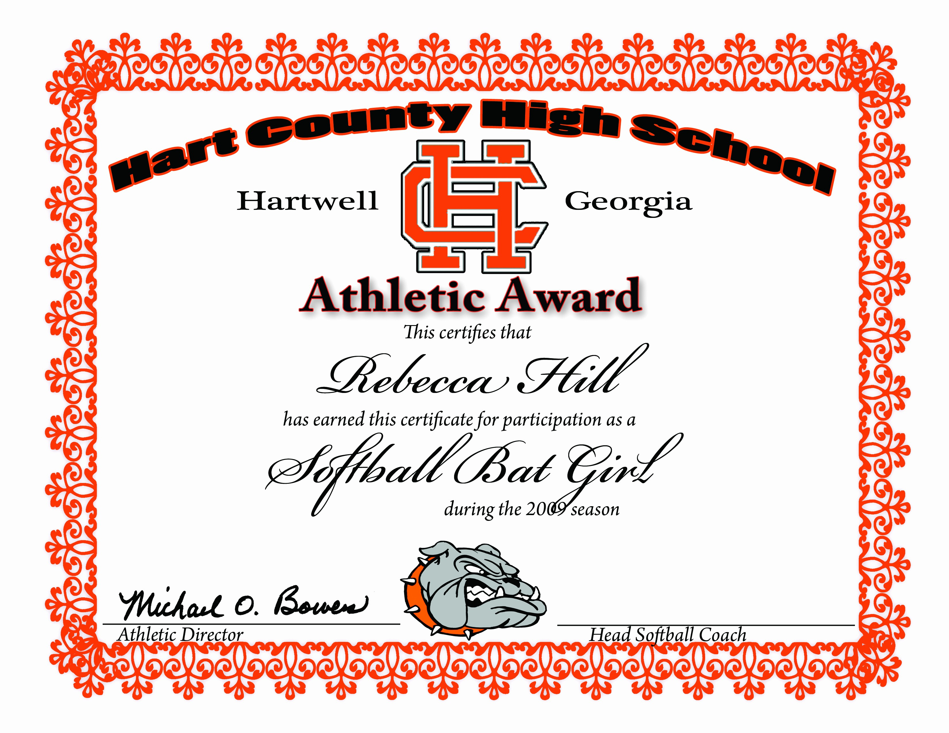 Sports Certificate Templates for Word Beautiful athletic Award