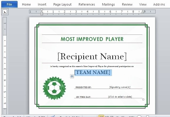 Sports Certificate Templates for Word Elegant Sports Award Certificate Template Word