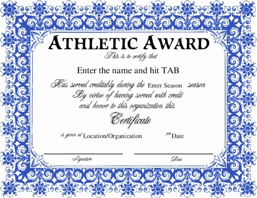 Sports Certificate Templates for Word Fresh 92 Sports Award Template Similar for Printable