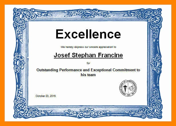 Sports Certificate Templates for Word Fresh Awards Certificate Template Wordards Certificates