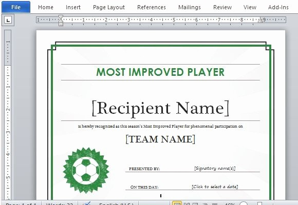 Sports Certificate Templates for Word Lovely Printable Sports Certificate Template for Word