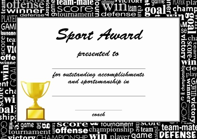 Sports Certificate Templates for Word New Award Certificates for Sports