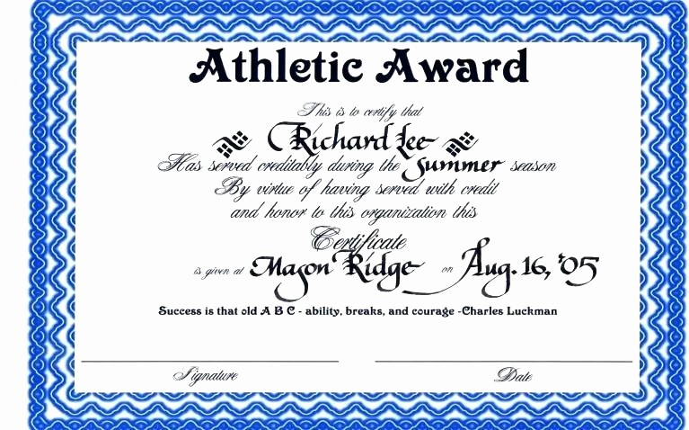 Sports Certificate Templates for Word New Certificate Template Word Templates Collections Sports