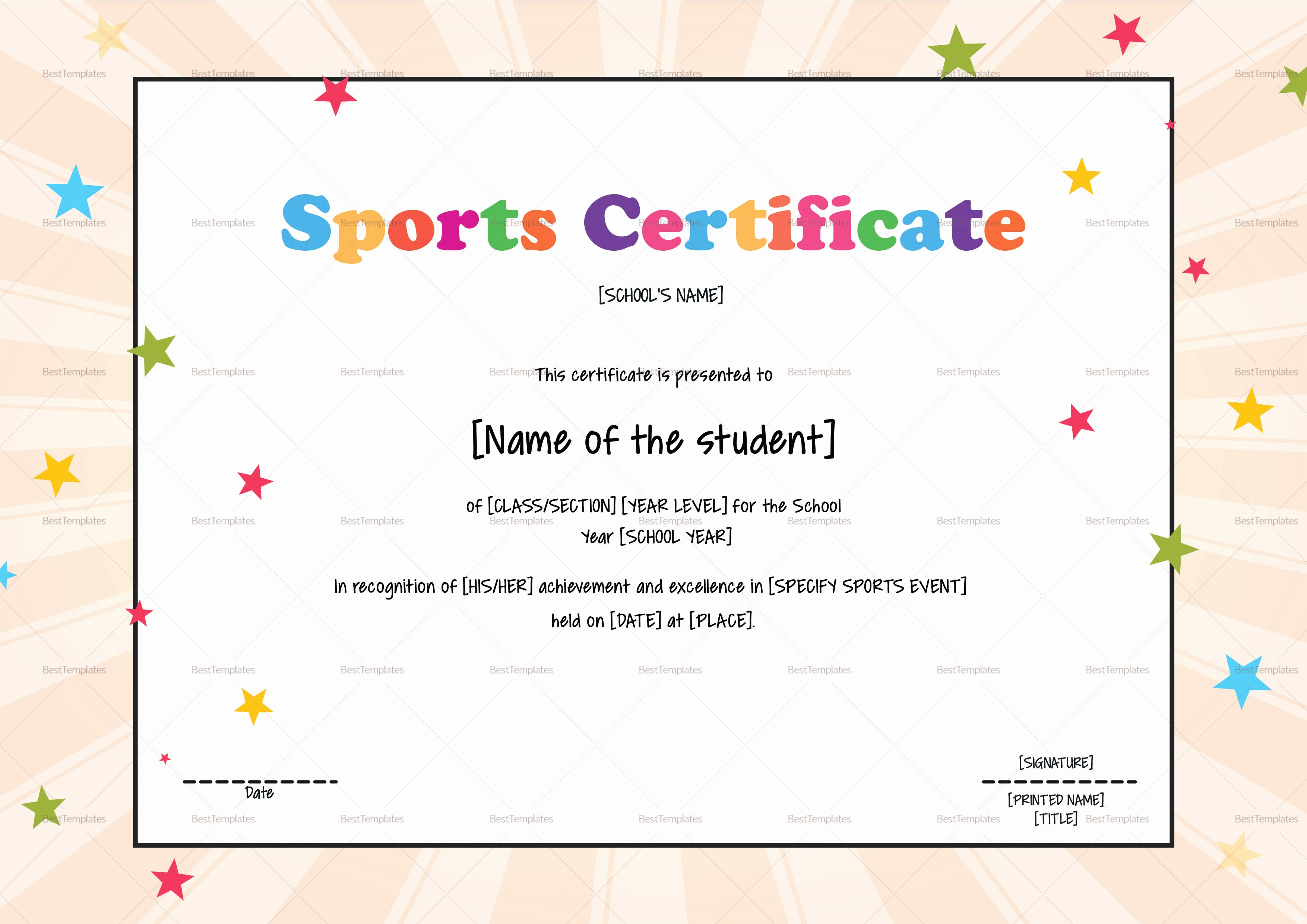 Sports Certificate Templates for Word New Kids Sports Certificate Design Template In Psd Word