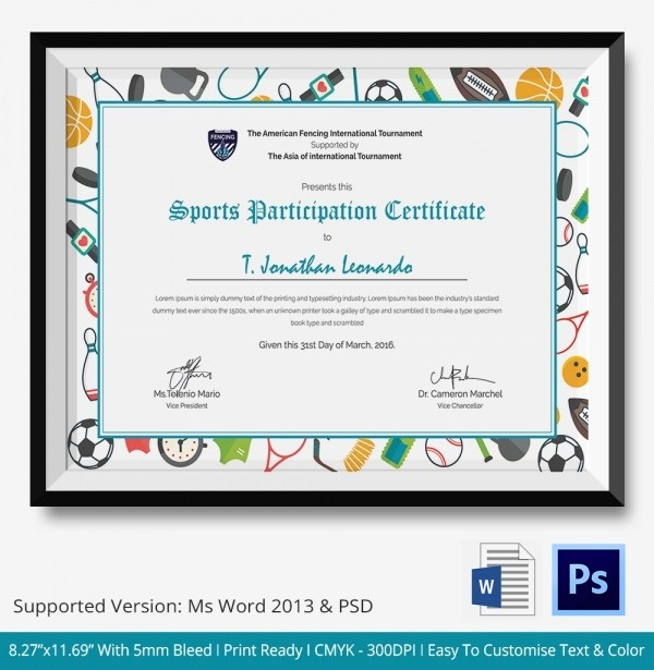 Sports Certificate Templates for Word New Participation Certificate Template 14 Free Word Pdf