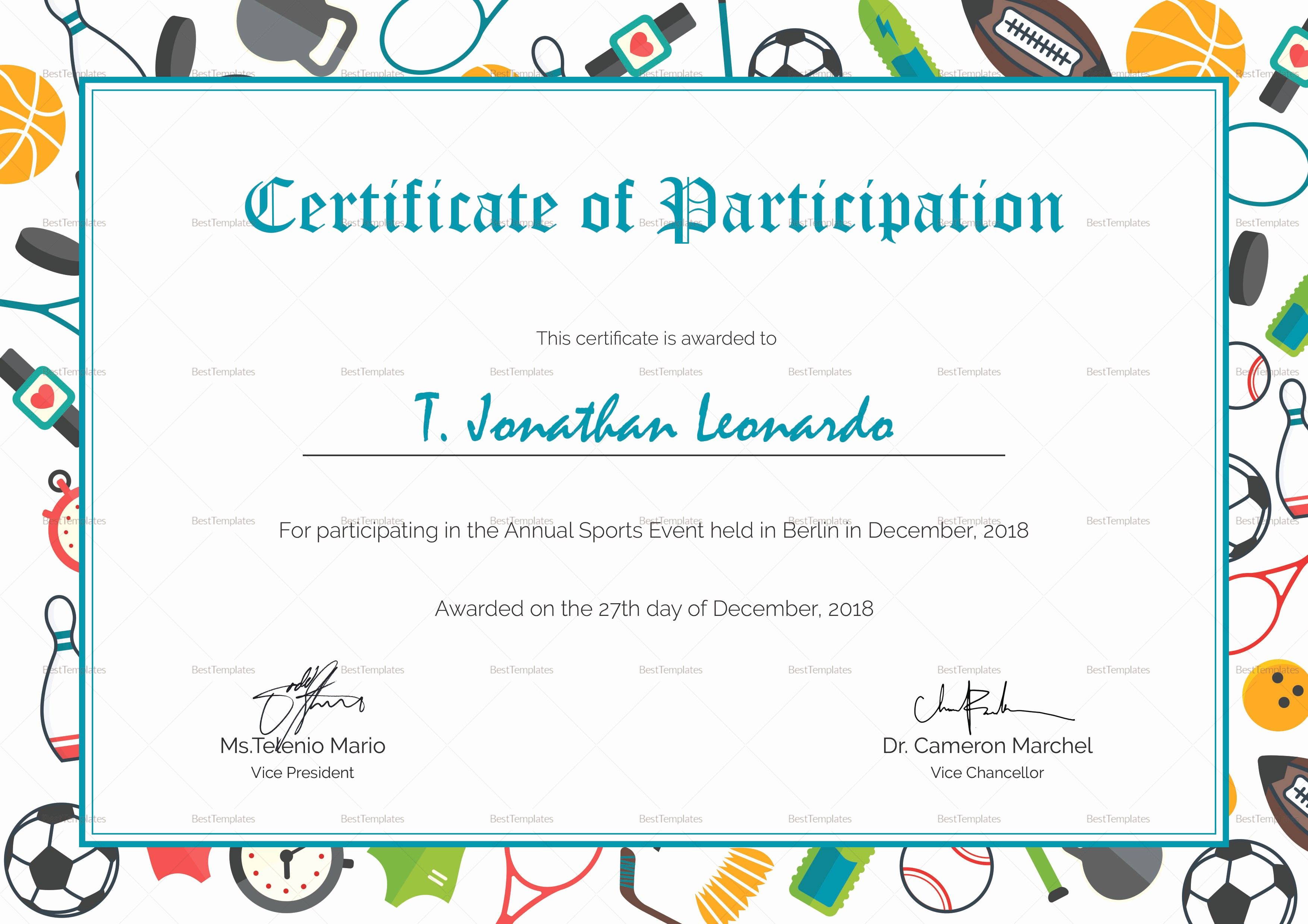 Sports Certificate Templates for Word New Sports Participation Certificate Design Template In Psd Word