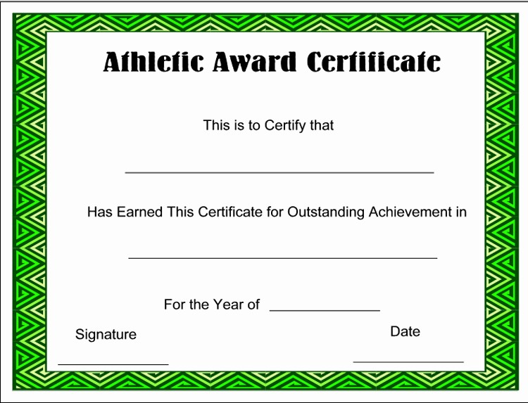 Sports Certificates Templates Free Download Beautiful Free Download athletic Award Certificate Sample with Green