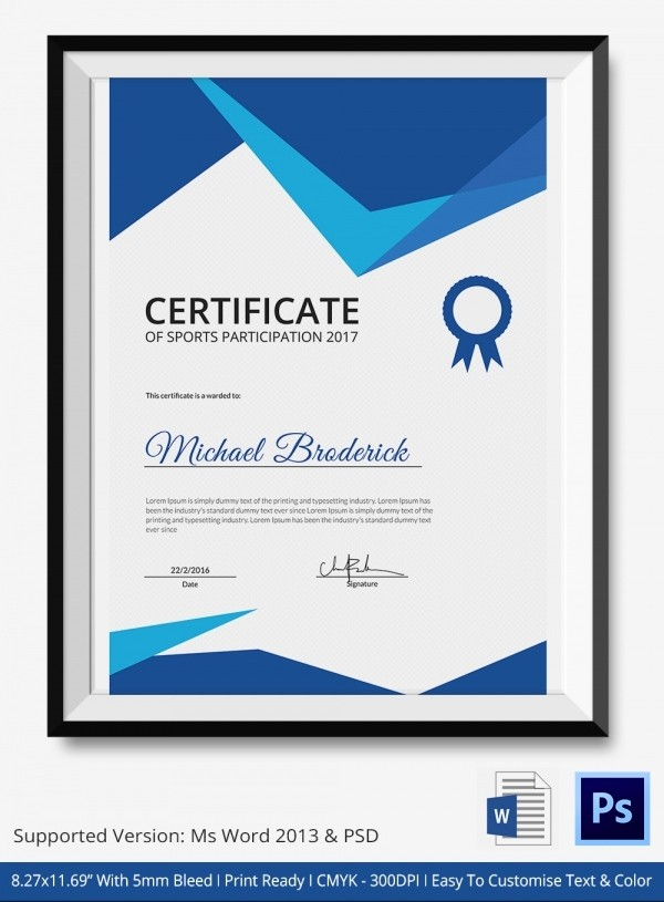Sports Certificates Templates Free Download Beautiful Sports Achievement Certificate 5 Word Psd format