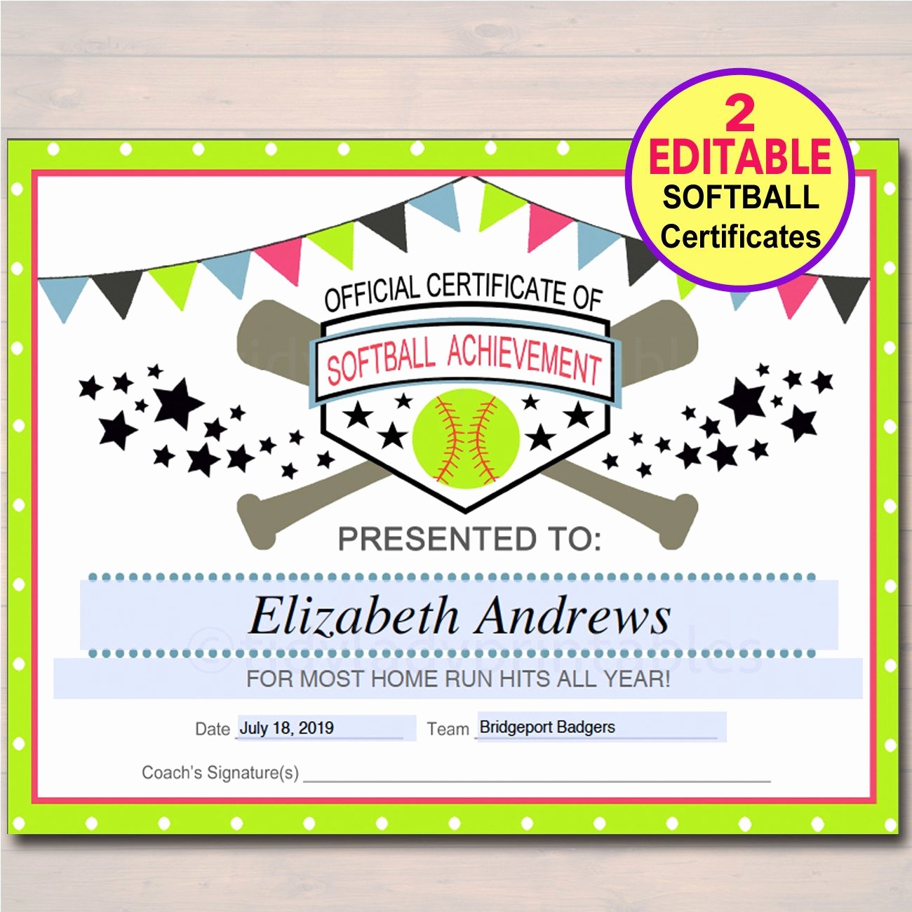Sports Certificates Templates Free Download Best Of Editable softball Certificates Instant Download softball