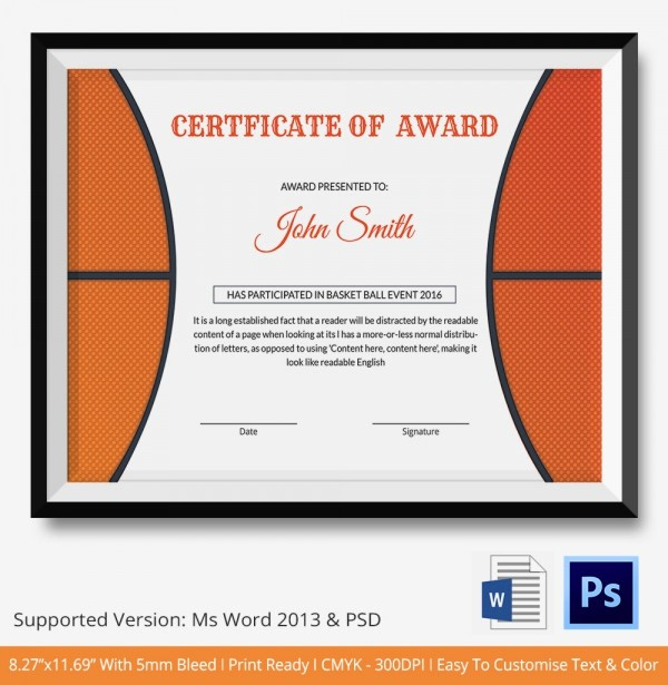 Sports Certificates Templates Free Download Elegant Basketball Certificate Template 14 Free Word Pdf Psd