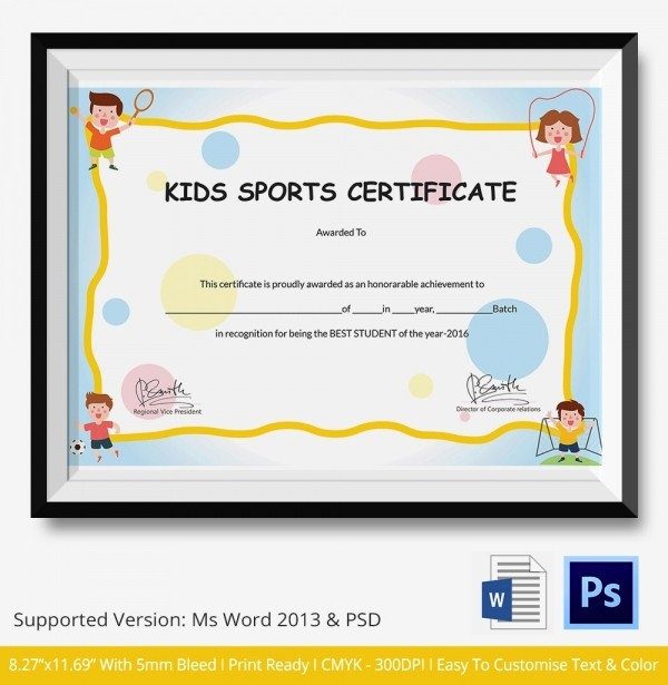 Sports Certificates Templates Free Download Elegant Kids Sports Certificate 5 Word Psd format Download