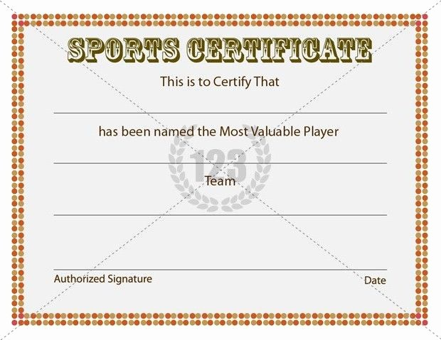 Sports Certificates Templates Free Download Inspirational Most Valuable Player Sports Certificates Templates Free