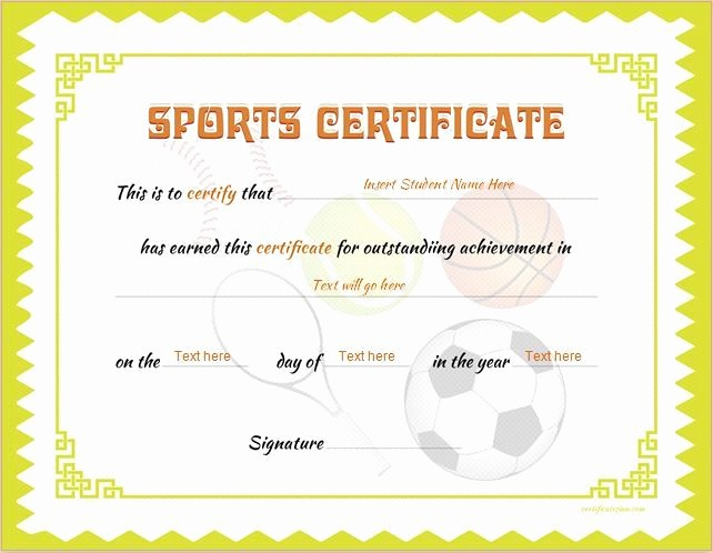 Sports Certificates Templates Free Download Inspirational Sports Certificate Template for Ms Word Download at