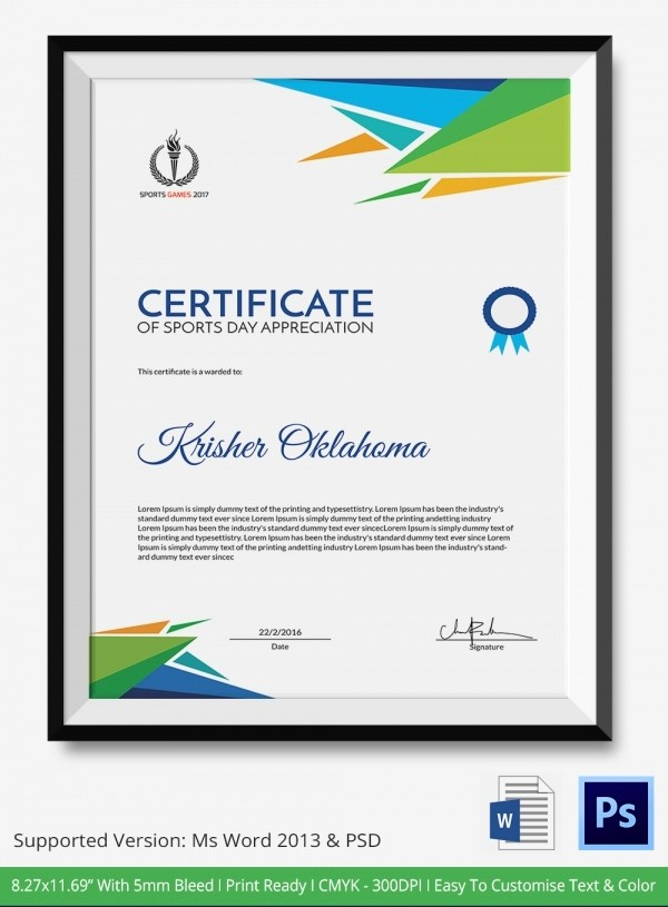 Sports Certificates Templates Free Download New Certificate Of Sports Day Template 5 Word Psd format