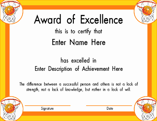 Sports Certificates Templates Free Download Unique Sports Certificate Template Basketball Playinterchange