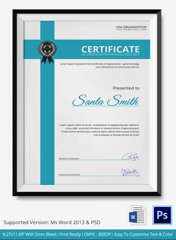 Sports Certificates Templates Free Download Unique Sports Nutrition Certificate 5 Word Psd format