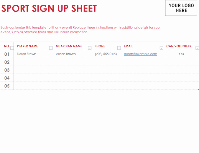 Sports Sign Up Sheet Template Luxury Lists Fice