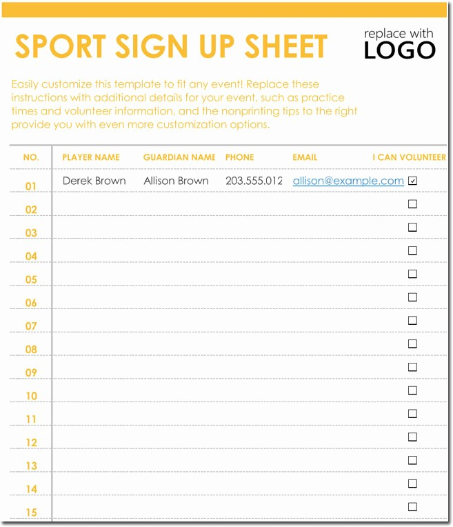 Sports Sign Up Sheet Template New Signup Sheet Templates 40 Sheets