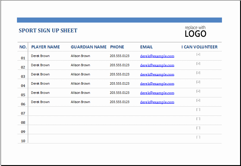 Sports Sign Up Sheet Template Unique Ms Excel Sports Sign Up Sheet Template
